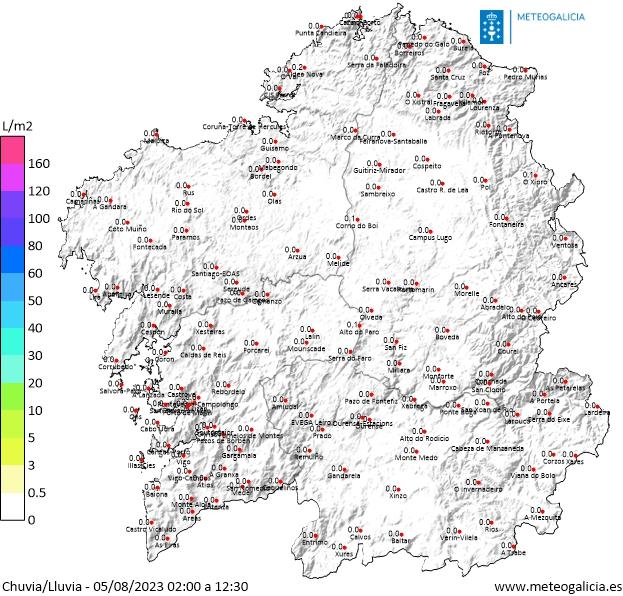 Mapa de lluvia acumulada hoy en Galicia